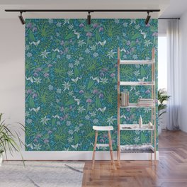 Edelweiss flowers with hellebore and snowdrops on blue background Wall Mural