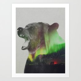 Bear In The Aurora Borealis Art Print