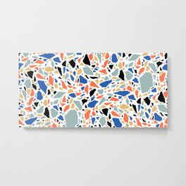 Terrazzo pattern in blue and salmon Metal Print