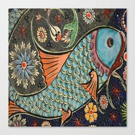 bohemian folk art orange aqua blue japanese good luck koi fish Canvas Print