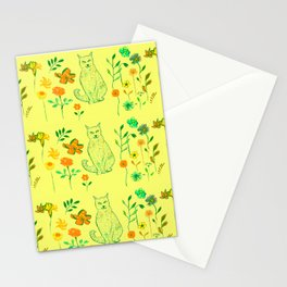 Cat in the garden - Pattern Stationery Cards