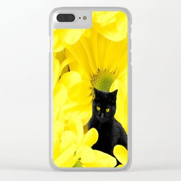 Black Cat Yellow Flowers Spring Mood #decor #society6 #buyart Clear iPhone Case
