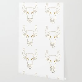 Gold Bull Head Silhouette Wallpaper