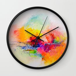 Colorful Abstracted Landscape Painting Print Wall Clock