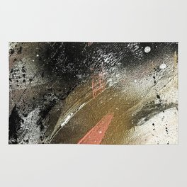lighning [2]: a colorful abstract piece in black, white, gold, and pink Rug