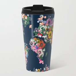 world map floral Travel Mug