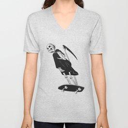 Grim reaper skater - funny skeleton - gothic monster - black and white Unisex V-Neck