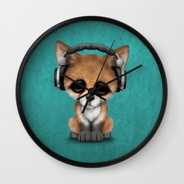 Cute Red Fox Cub Dj Wearing Headphones on Blue Wall Clock