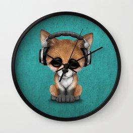 Cute Red Fox Cub Dj Wearing Headphones on Blue Wall Clock