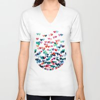 romance V-neck T-shirts featuring Heart Connections - watercolor painting by micklyn