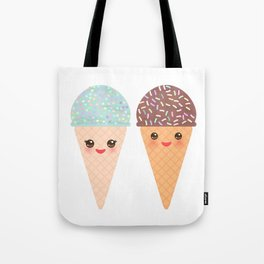 Ice cream waffle cone Kawaii funny muzzle with pink cheeks and winking eyes, pastel colors Tote Bag