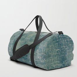 Grunge Abstract Art in Teal, Olive Green and Cream Duffle Bag