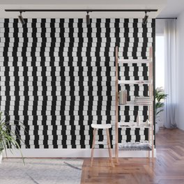 Offset Black and White Lines, Hypnotic Block Pattern Illustration Wall Mural