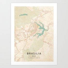 Brasilia, Brazil - Vintage Map Art Print