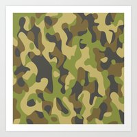 military Art Prints featuring Military Pattern by Crazy Thoom