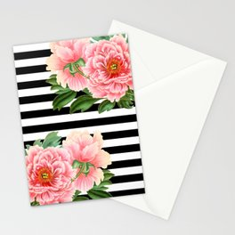 Pink Peonies Black Stripes Stationery Cards