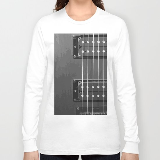 Black and White Guitar Long Sleeve T-shirt