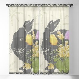 Bunny with Spring Flowers Sheer Curtain