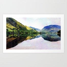 Buttermere Mirror Mountains, Lake District, UK. Watercolour landscape. Art Print