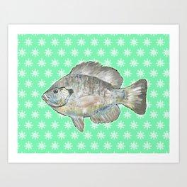 Bluegill and Green Wallpaper Design Art Print