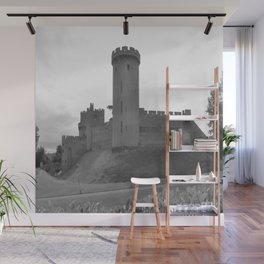 Black and white English Castle Wall Mural