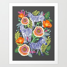 Zebra Idea, zebra print, animal print, flower print  Art Print