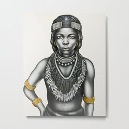 Tribal Girl withGold Foil Jewellery Metal Print