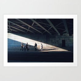 Under bridge light Art Print
