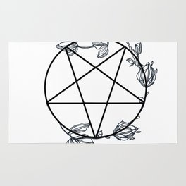 Witch's Pentagram with Flora Adornments Rug