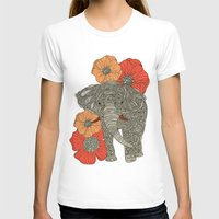 animals T-shirts featuring The Elephant by Valentina Harper