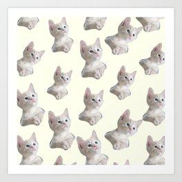 cute girly chic beige white cat pattern Art Print