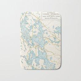 Vintage Muskoka Lakes Map Bath Mat
