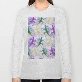 Watercolor women runner pattern Long Sleeve T-shirt