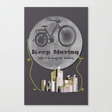 Moon Keep Moving Bicycle Canvas Print