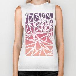 Purple Pink Peach Gradient Triangles Geometric Biker Tank