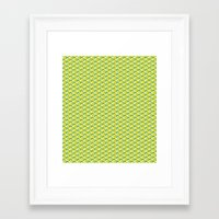 green pattern Framed Art Prints featuring pattern green by colli1 3designs