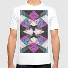 Marble Geometric Background G438 White Mens Fitted Tee MEDIUM