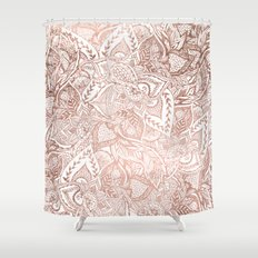 Chic hand drawn rose gold floral mandala pattern Shower Curtain