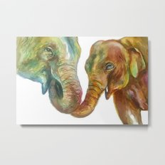 Mommy and Baby Elephant Metal Print