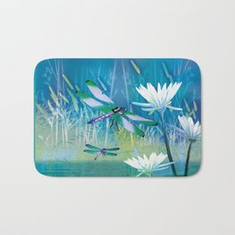 Dragonfly and Blue Pond Bath Mat