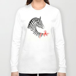 Black Zebra and Orange Bird Long Sleeve T-shirt