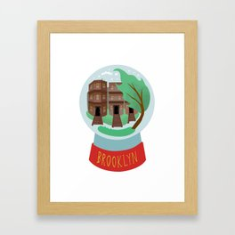 Brooklyn snow globe, souvenir, new york city, nyc, ny, brownstone Framed Art Print