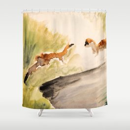 Stoat in the sunset (watercolor) Shower Curtain