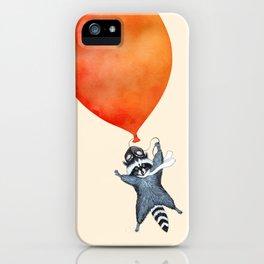 Raccoon and Balloon iPhone Case