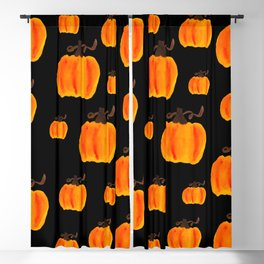 Halloween Watercolor Pumpkins Blackout Curtain