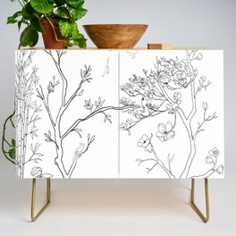 Color Your Own Chinoiserie Panels 1-2 Contour Lines - Casart Scenoiserie Collection Credenza