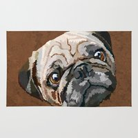 pug Area & Throw Rugs featuring pug by Ancello
