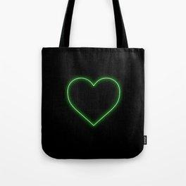 Neon Green Valentines Love Heart Tote Bag