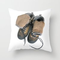 hiking Throw Pillows featuring Hiking Boots by Ann Horn