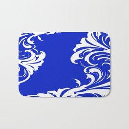 Damask Blue and White Victorian Swirl Damask Pattern Bath Mat